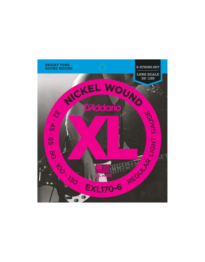 D'addario EXL170-6 Long scale 6-string bass guitar strings 032-130