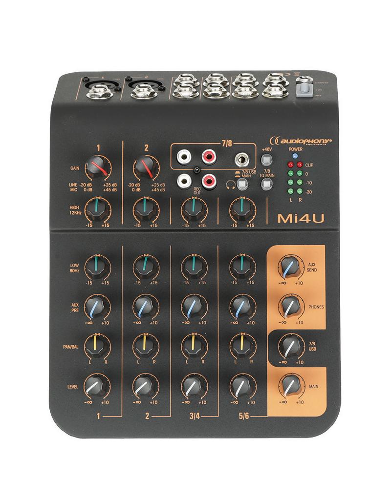 Audiophony Mi4U 4-kanaals mixer met USB