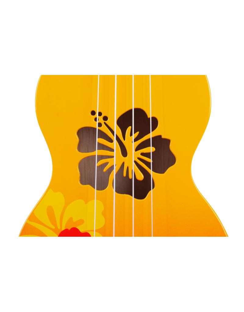 Mahalo MD1HBORB sopraan ukelele hibiscus oranje burst