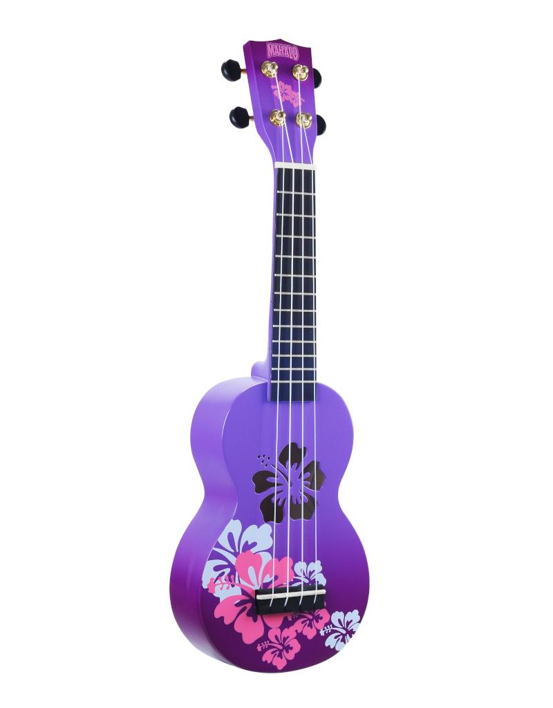 Mahalo MD1HBPPB sopraan ukelele hibiscus paars burst