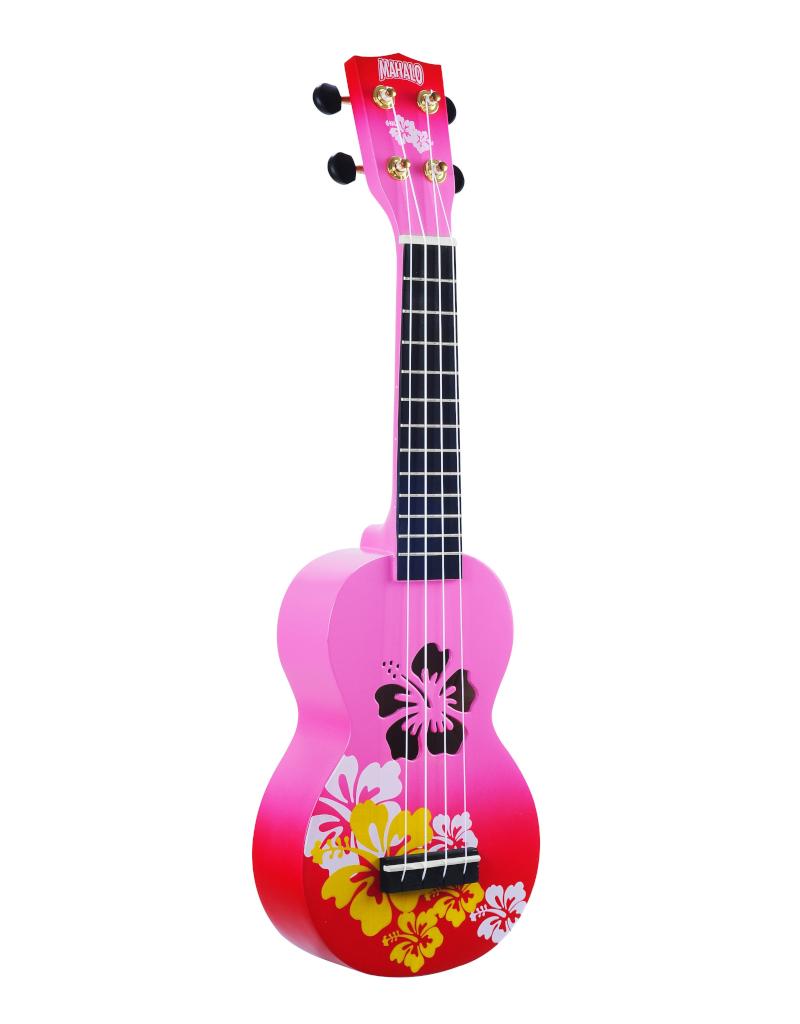 Mahalo MD1HBRDB sopraan ukelele hibiscus rood burst