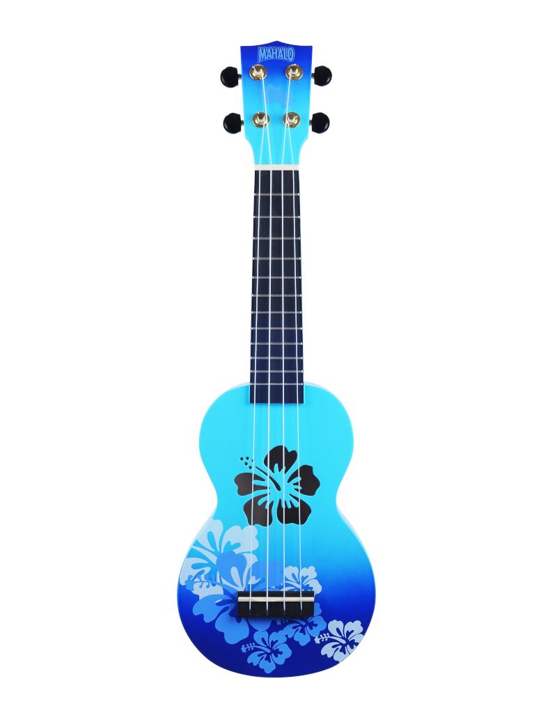 Mahalo MD1HBBUB sopraan ukelele hibiscus blauw burst
