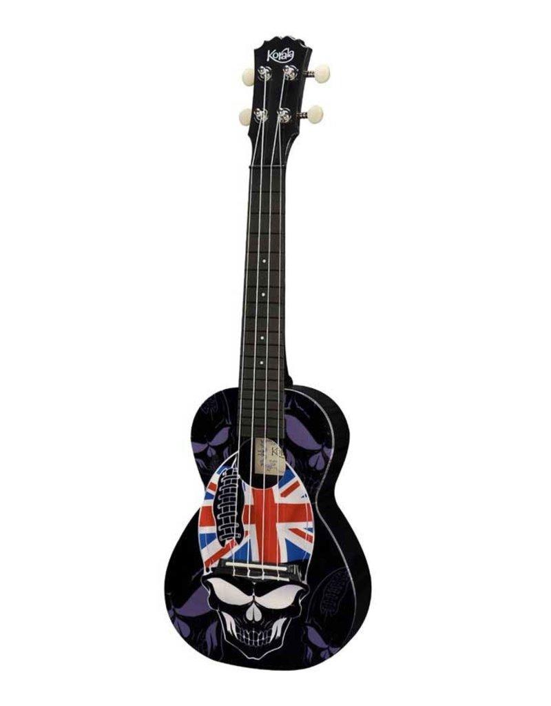 Korala PUC-30-004 Polycarbonate concert ukulele Skull with union jack hat