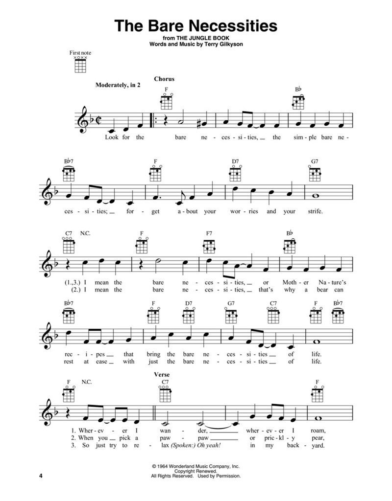 Hal Leonard Disney Fun songs for Ukulele