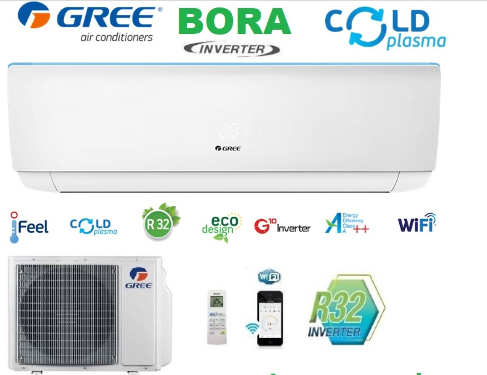 Bora GREE BORA A++ , Wifi , inverter 5kw 18000btu