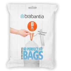 Brabantia afvalzak dispenser pack B 5ltr. 60stuks wit met trekbandsluiting
