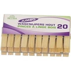 Wasknijpers Jumbo hout 2 pakken à 20 stuks