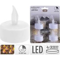 LED theelicht waxinelicht met timer op batterij (inclusief) pak a 4 stuks
