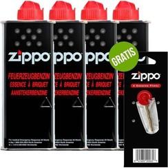 4 x Zippo Aansteker Benzine / Vloeistof + Gratis Vuursteentjes