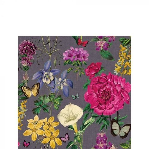 Ambiente Servetten 25x25cm Botanical Florals Grey 20 stuks
