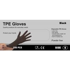 TPE Wegwerphandschoenen latex vrij 100 stuks maat S zwart