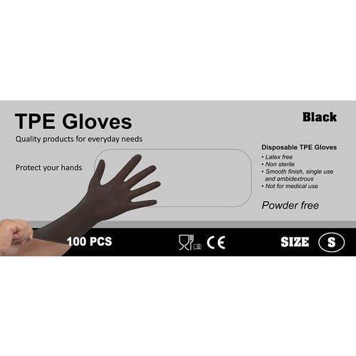 TPE Wegwerphandschoenen latex vrij 100 stuks maat XL zwart