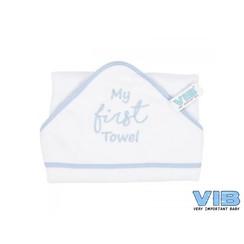 VIB Badcape Wit + Blauw (My First Towel)