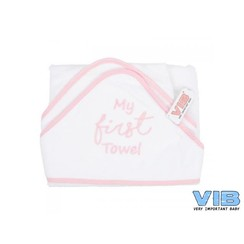 VIB Badcape Wit + Roze (My First Towel)