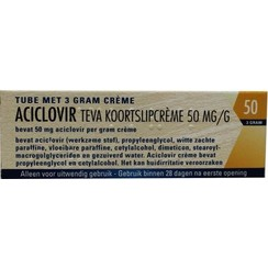 Teva Koortslipcrème Aciclovir 50 mg/g tube 3 gram