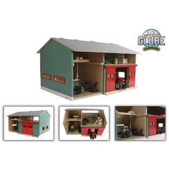 Kids Globe werkplaats met berging en rode deuren 1:32 41x54x32cm
