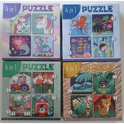 4-in-1 puzzel (4/6/9/12 stukjes)