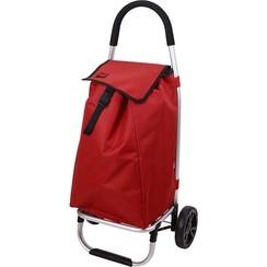 Boodschappentrolley alu rood 85x41x12cm