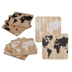 Onderzetters wereldkaart hout set a 4 stuks 9,5x9,5cm