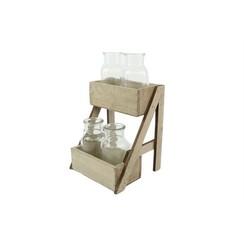 Tray hout 2-laags Gauntry met 4 glaasjes 17x17xh28,5cm