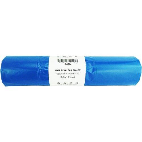 Afvalzak 240L blauw 10 stuks op rol 65/2x25x140cm. dikte 70mu