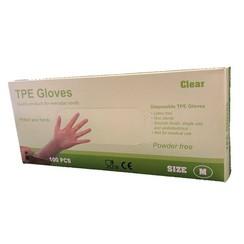 TPE Wegwerphandschoenen latex vrij 100 stuks maat L transparant