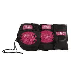 Inline Skate beschermset 6 delig roze/zwart small