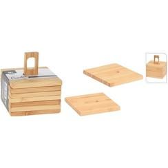 Onderzetters bamboe set van 6 stuks 9x9cm