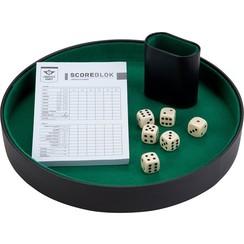 Dobbelset compleet met 6 dobbelstenen, pokerpiste, scoreblok, dobbelbeker
