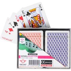 Longfield Poker/Bridge Speelkaarten 2 pakjes in kunststof doos