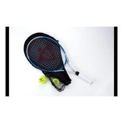 """Tennisracket 27"""" blauw met hoes en 2 ballen"""