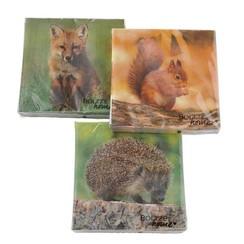 Boltze Home Servetten bosdieren 20stuks Wälder 33x33cm verkrijgbaar in vos,eekhoorn of egel