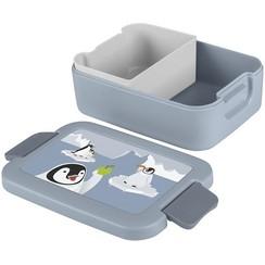Sunware Sigma Home Lunchbox Pinguïn met bentobakje blauwgrijs/decor
