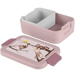Sunware Sigma Home Lunchbox Aap met bentobakje roze/donkerroze