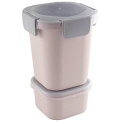 Sunware Sigma Home Food to go Lunch beker roze/lichtgrijs 11,5 x 11,5 x 18,5 cm