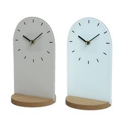 Klok glas MDF standaard 15x14x26cm