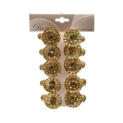 Kerststal met 6 figuren - Copkerstboomkaarsjeshouders met knijper 5x3.5cm goud 10 stuksy