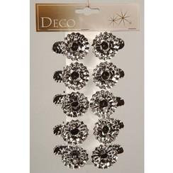 Decoris Kerstboomkaarsjes houders met knijper 5x3.5cm zilver