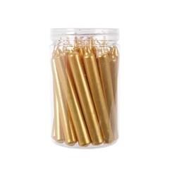 Kerstboomkaarsjes metalic goud 1,3x10.5 cm 22 stuks in koker