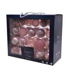 Kerstballenset van glas poederroze box a 42 stuks