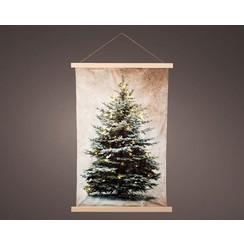 Lumineo LED wandtapijt kerstboom warm wit 55x82cm-24L op batterij