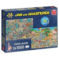 Jumbo Jan van Haasteren puzzel Muziekwinkel & Vakantiekriebels 2x1000 stukjes
