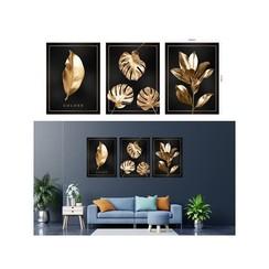 Canvas schilderij bladeren zwart/goud 30x40x1,5cm MDF per stuk.
