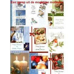 Kerstkaarten 10 stuks in showdoos met enveloppen ABCD