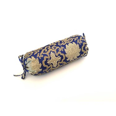 Yoga Neck Bolster - Shiny Brocade Blue - Lotus