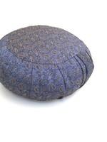 Zafu Pleated Meditation Cushion - Blue Brocade