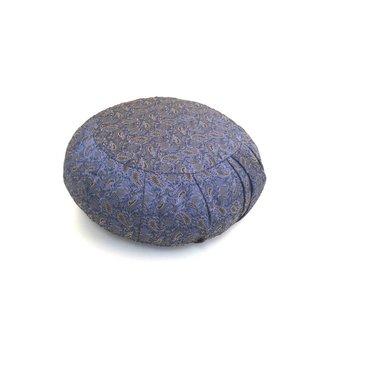 Zafu Pleated Yoga and Meditation Cushion - Blue Brocade