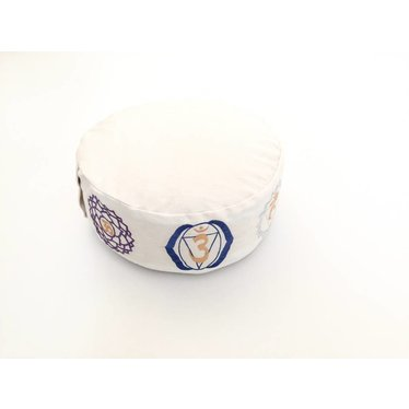 Yoga en Meditation Cushion Cover Round Chakras White - Cover Only