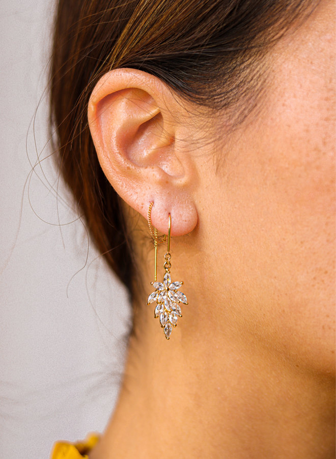 Flower earrings finished with cz stones