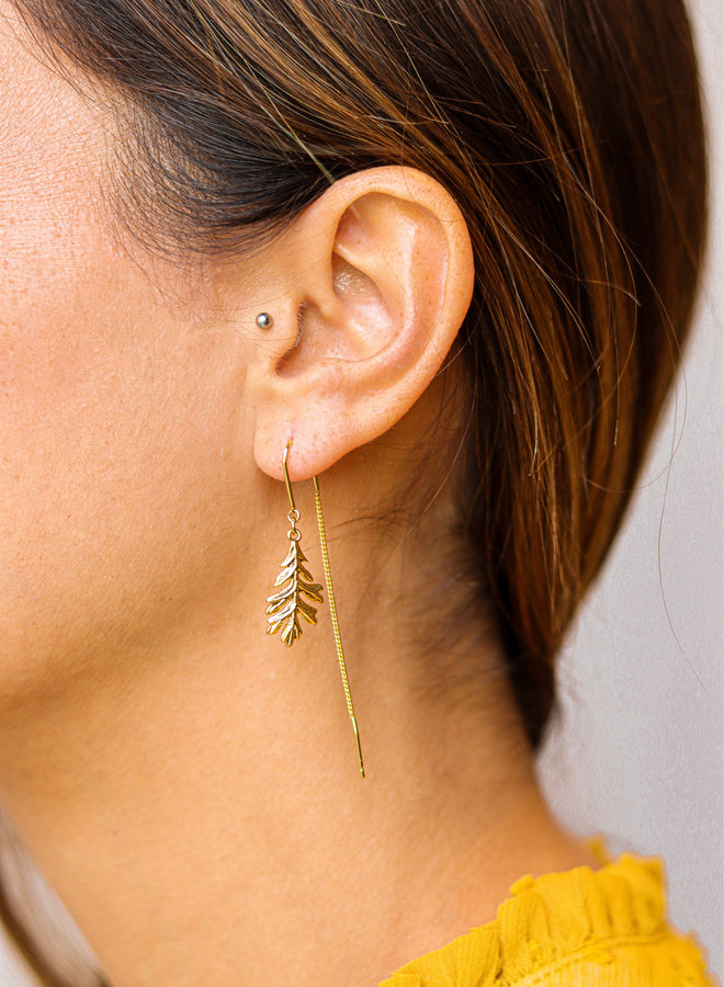 Oak leaf threader earrings